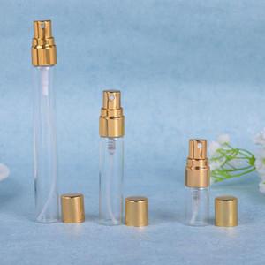 إفراغ زجاجات 5ML 10ML زجاج الجميلة ميست البخاخة مع الذهب أو الفضة قبعات عطر عبوة قابلة للتعبئة كولونيا صب رذاذ زجاجات GWD2999