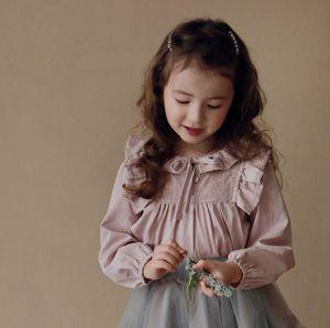 Crianças Falbala Manga Longa Camisas Primavera Novas Crianças Lace Ruffle Blouse Meninas Algodão Princesa Tops A5352