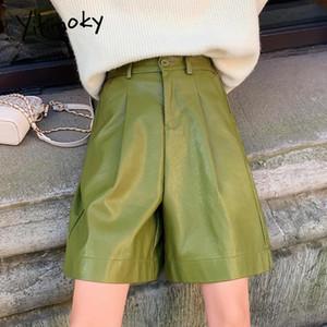 yitimoky кожаные шорты женщина кнопка высокая талия шорты 2020 pu плюс размер осенью и зимой женщины высокая талия улица зеленый
