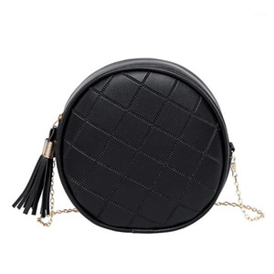 Solid Color Plaid Shoulder Bag for Women Messenger Handbags PU Leather Round Small Tassel Crossbody Bags Bolsas Feminina Mujer1
