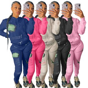 womens tracksuits long sleeve hoodie outfits shirt pants two piece set skinny shirt tights sport suit pullover pants hot selling LY1930