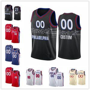 Özel Erkekler Joel 21 Embiid Jersey Ben 25 Simmons Iverson Tobias 12 Harris Tyrese 0 Maxey Sallamak 18 Milton Seth 31 Köri Şehri Basketbol Forması