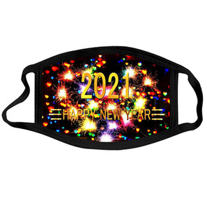 face mask  2021 new year  mask Kids Christmas washable Dust and haze adult mouth masks happy new year men women DWD3267