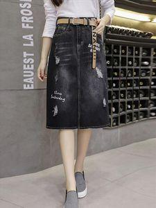 2020 High Quality Loose Skirt Summer Hole Mid Denim Skirts Womens Cotton Casual Split Ladies Skirt Black Jeans Saia Femme