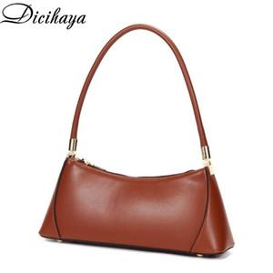 Dicihaya 2020 couro genuíno couro de couro novo novo nicho design retro saco de underarm fêmea saco único bolsa de baguete de ombro
