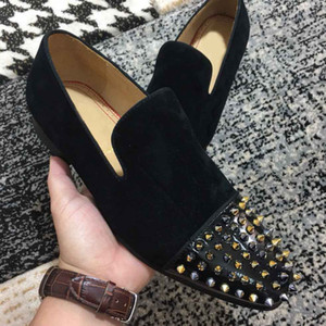 Gentleman Black Spikes Red Bottom Dress Flats Men Black Suede leather Wedding Business Shoes Low cut Loafers Oxfords Shoes Low Heels shoes