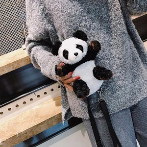Designer-Cute Cartoon Plush Panda Women'S Small 3D Animal Shoulder Handbag High Quality Gift For Kids Children Doll Toy Messenger Bags