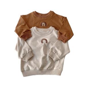 Automne Toddler Bébé Filles Boys Rainbow Broderie Sweatshirts Tops Enfants À Manches à manches longues T-shirt Sweat-shirt Tenue de vêtements pour bébé 201222