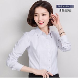 2020 summer fashion popular blouse long sleeved professional womens scarf collar white shirt 874 Drop Shipping