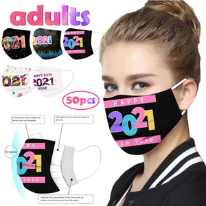Desechable 50PC Mascarilla 2021 New Years Happy Adult Disposable Christmas 3 Layer Earring Face Mask Headband Macka Masque V