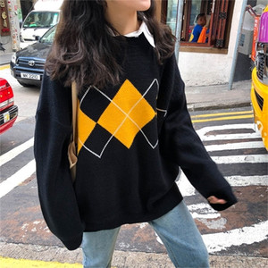 3 colors Korean ins style Knitted Sweaters Women Casual O Neck Loose Long Sleeve Sweater Female plaid Oversize Jumpers (X998 201221