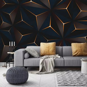 Custom 3D Photo Wallpaper Mural Modern Golden Lines Abstract Geometric Living Room TV Background Wall Waterproof Canvas Painting