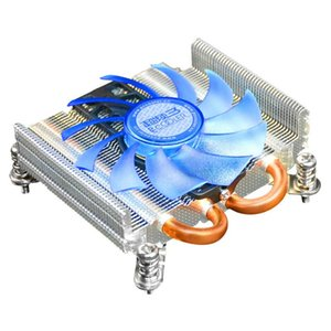 Pccooler Ultra-thin CPU Cooler with 8CM 4PIN PWM Fan Two Copper Heatpipes Cooling for AIO Computer and HTPC Mini Case