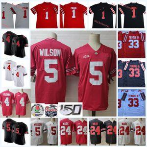 Erkek # 1 Justin Fields Ohio State Buckeyes Jersey 33 Master Teague III Jersey 4 Julian Fleming 24 Shaun Wade 5 Garrett Wilson Futbol Jersey