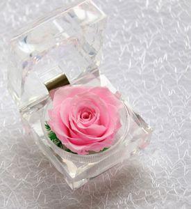 Regalo de San Valentín Regalo Cristal Acrílico Rose Flor Regalo Caja de anillo claro Caja de matrimonio Propuesta Rose Flowers Presente