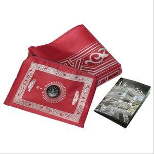 Islamic Prayer Rug Portable Braided Mat Carpets Zipper Compass Blankets Pocket Rugs Muslim Worship Blanket GWA4610