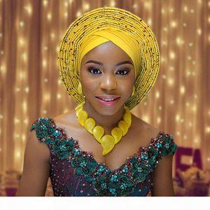 2018 african headtie for woman nigerian gele already made auto gele hele turban aso ebi big brim beautiful wedding headtie
