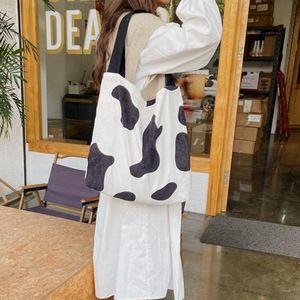 Korean Shoulder Handbag Large Capacity Winter Corduroy Top-handle Bags for Women 2020 Zebra Cow Pattern Street Shopping Bags