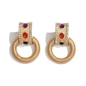 Amorcome Korean Gold Color Drop Pendientes para las mujeres Girls Colorful Gem Rhinestone Pendiente Brinco Declaración de moda Joyería de Moda1