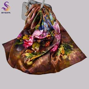 [Bysifa] Новый кофе женщины чистые шелковые шарфы шали мода китайский пион элегантные длинные шарфы зима женские мы шеи шарф шеи хиджаб