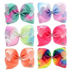 8 '' 6 Farbe Big Rainbow Hairpin Gradienten Print Grosgrain Ribbon Bow mit Strass Haarclips Mädchen Haar Bögen Teenager Geschenk 832 ACLD