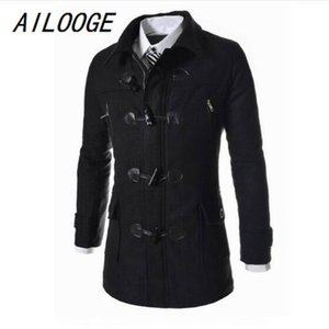 Ailooge Olland High Quality Hombre Hombres Cuerno Cuerno Abrigos Casual Outcoat Fashion Wool Coat Men Windbreaker Chaqueta Peacoat LJ201109