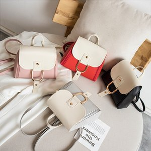 korean version of personality contrast color bag cover pin buckle small backpack 2020 summer and autumn new products ladies oblique personal