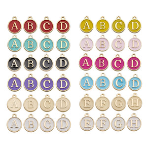 10 Sets 260 pcs 10 colors mixed 12mm diy jewelry enamel Alphabet Charms round 26 A-Z Letter bead Charms pendant for Bracelets Necklace