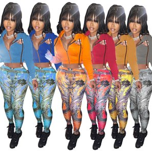 Las mujeres chándales de dos piezas Set Digital Designer Impreso con capucha de la cremallera de los pantalones de felpa capa jersey de mujer Nuevos Trajes Sportwear