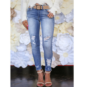 Sexy Womens Jeans Denim Jeans Ripped Hole Pants Mid Waist Stretch Slim Fit Pencil Pants Trousers S-3XL 2020