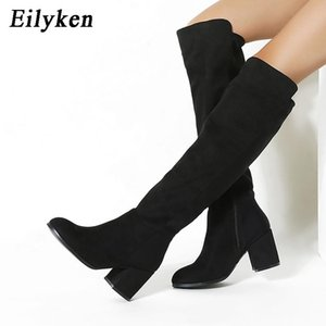 Hot Sale-Eilyken Size 35-40 Women Fashion Black Knee High Boots Winter Flock Zipper Shoes Thick High Heel Round Toe Ladies Long Boot
