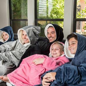 New Winter Sherpa Blanket With Sleeve Ultra Plush Blanket Hoodie Pink Grey Wine Blue Warm Flannel Hooded Blankets
