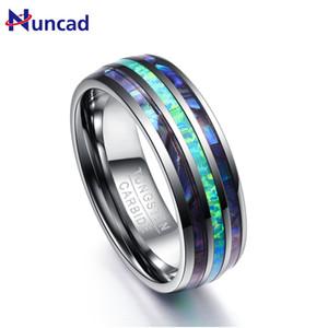 NUNCAD 8mm de ancho pulido abalone shell tungsteno anillos de carburo cúpula triple ranurado ópalo tungsteno anillo de acero nunca se desvanece T082R B1205