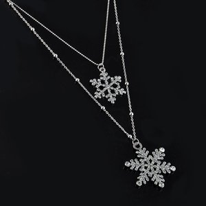 Fashion Gold Rhinestone Snowflake Pendant Necklaces Long Sweater Chain Double Layers Necklace & Pendant Christmas Gift Jewerly