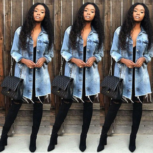 Women Denim Ripped Hole Jeans Buttons Down Long Sleeve Coat Jacket Tops Autumn Outwear Basic Denmin Jackets WDC3236