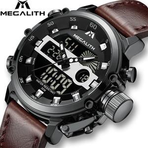 Megalith hombres deportes reloj de cuarzo hombres multifunción impermeable luminoso reloj de pulsera luminoso reloj de dispayal dual reloj horlogan mannen con caja T200502