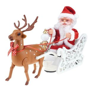Christmas Santa Claus Doll Elk Sled Toy Electric Car With Music Children Kids Christmas Electric Doll Xmas Decor Gifts