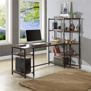 US Stock Home Office Office Computer Secretária com 5 camadas de armazenamento Prateleiras de escritório grande escritório Estudo de mesa de escrita de mesa com estante de canto