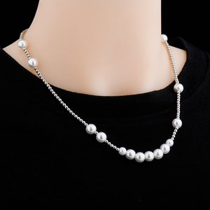 Clavicle Chain Necklace Fashion Men Women Stainless Steel Chain Necklaces Elegant Hip Hop White Pearl Necklaces