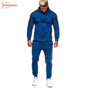 Siteweie İki Adet Zip Yukarı Sweatshirt ve Sweatpants Pantolon Suits Erkekler Spor Tracksuits Koşucular Basamak G506 ayarlar