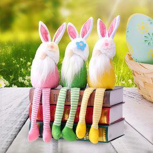 3 Cores Páscoa Felleless Boneca Brinquedos Rabbit Long-Legged Coelho Recheado Gnomo Dola De Pelúcia Ornaments Casa Decoração M3231