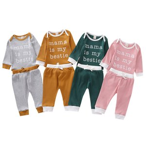 Infant Baby Letter Suit Kids Long Sleeve Rompers Mama Is My Bestie Printed Onesies Girls Clothes Sets Elastic Pants Set Ropa Bebe 061202
