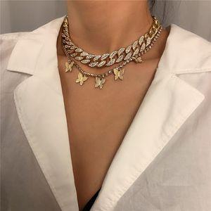 Layered Butterfly Necklaces Fashion Pendant Necklace Cuba Chain Rhinestones Choker Women Gilrs Full Crystal Body Jewelry Kimter-L978FA