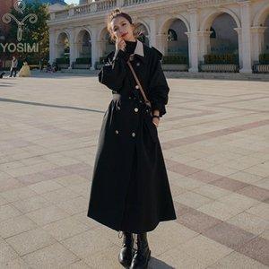 Yosimi Donne Trench Cappotto 2020 Autunno Inverno Maxi Capispalla lunga con cintura Black Ventola Donne a vita larga Trench di grandi dimensioni