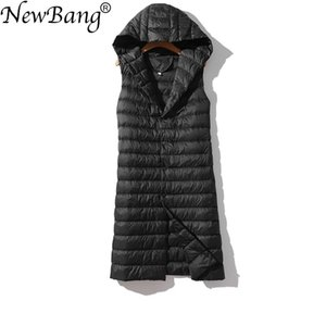 NewBang Brand Women's Long Vest Ultra Light Down Vests Hooded Sleeveless Turn-down Collar Jacket Single Breasted Warm Suit Vest 201119