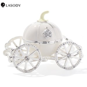 Enameled Cinderella Pumpkin Carriage Decorative Hinged Jewelry Trinket box Jewelry Chests Gift for Girl Wedding Z1123