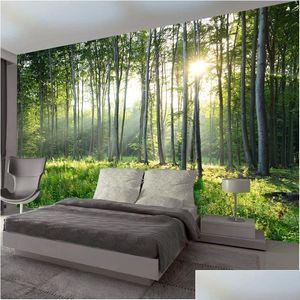 Custom Photo Wallpaper 3d Green Forest Nature Landscape Large Murals Living Room Sofa Bedroom Modern Wall Pain jllIeC eatout
