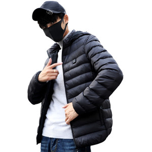 Men Women Heated Jacket Vest Down Cotton Outdoor Coat USB Heating Hooded Winter Thermal Warmer Jackets Winter Sports Heated Coat