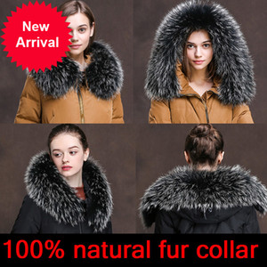 Cllikko 100% Real para Parkas Casacos Luxo Quente Natural Raccoon Lenço Mulheres Grandes Coleiras de Pele Cachecóis Masculino Casacos Casaco