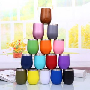 Wine Tumblers Stainless Steel Egg Cups with Lids Unbreakable Champagne Wine Glass Car Insulated Vacuum Cup Mug Bar 15 Color WZW-YW3848